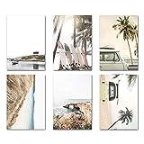 GEGEBIANHAOKAN Arts Canvas Print Tropical Summer Sea Beach Travel Poster Print Sunset Coconut Tabla de Surf Coche Paisaje Marino Imagen Decoración de pared-40x45cmx6 Sin Marco