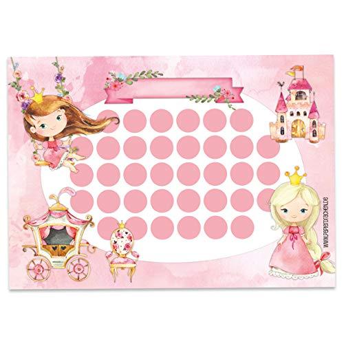 Papierdrachen Belohnungstafel Set für Kinder als Abreißblock 10 Blatt - Motivierendes Konzept als Erziehungshilfe - mit tollen Stickern für Jungs und Mädchen - Motiv Prinzessin blanko Set 18