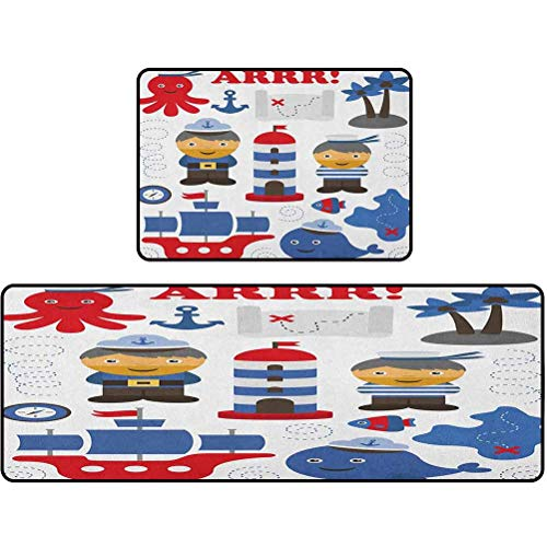 kitchen mat, Sea Theme Objects Collection Fishes Ship Lighthouse Sailors Octopus, 17'x48' + 17'x24' Ergonomic Floor Pad Kitchen Rug, Blue Red White