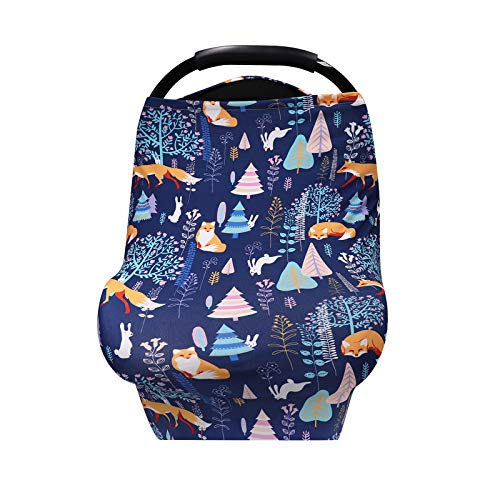Car Seat Cover for Baby Jungle Fox Nursing Cover Breastfeeding Cover Soft Breathable Infant Carseat Canopy Multifunctional Cover for Stroller/High Chair/Shopping Cart/Car Seat Canopies
