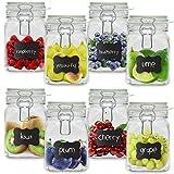 Creative Home 8 x Tarros de Cristal Herméticos con Tapa | 8 x 750ml | Set Botes Envases Cierre de Clip | para Conservar Alimentos | 12 Pegatinas Reutilizables + 1 Tiza Sin Polvo
