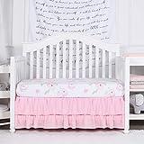 TILLYOU Crib Skirt Dust Ruffle Double Layer, Microfiber Nursery Crib Toddler Bedding Skirts for Baby Girls,...