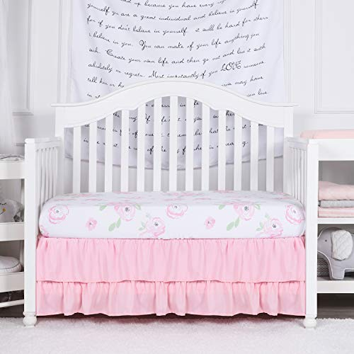 TILLYOU Crib Skirt Dust Ruffle Double Layer, Microfiber Nursery Crib Toddler Bedding Skirts for Baby Girls, 14' Drop, Jade Pink