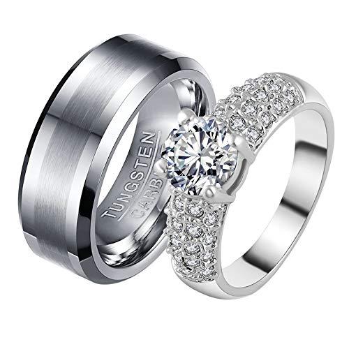 ANAZOZ 2 Stücke Paarringe Vergoldet Diamantring Luftmatratze 8mm Wolfram Siegelring Herren Us Verlobungsringe Trauring Ehering Damen Größe 60 (19.1) & Herren Größe 67 (21.3)