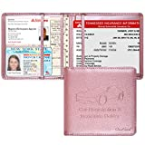 Techion Car Insurance and Registration Holder, 5.5 x 5 Inch PU Leather Vehicle Glove Box Organizer Wallet Case for Insurance Card, Driver License, Paperwork - Rose Gold