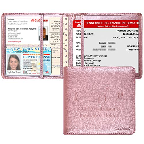 Techion Car Insurance and Registration Holder 55 x 5 Inch PU Leather Vehicle Glove Box Organizer Wallet Case for Insurance Card Driver License Paperwork  Rose Gold