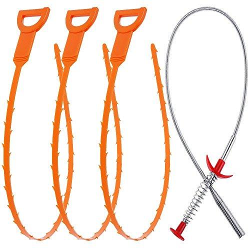 4 Stck 23.6 inch Drain Abfluss Schlange Haare Drain Clog Remover mit Clog Entferner Reinigungs-Tool für Küche/Waschbecken/Badewanneungs-Tool für Küche/Waschbecken/Badewanne