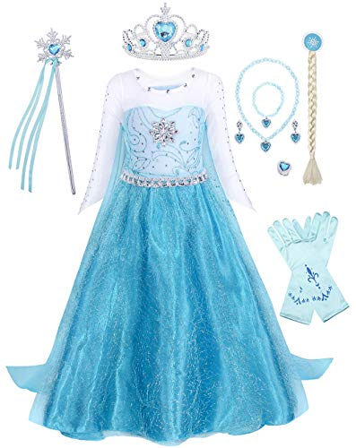 AmzBarley Princess Costume for Girls Halloween Cosplay Fancy Party Dress Up Clothes Holiday Role Play Outfits Birthday Carnival Sequins Dress with Accessories Size 3-4Years/Tag 110