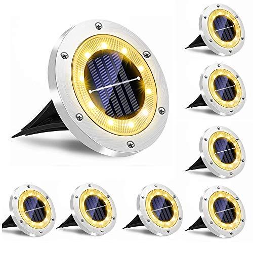 Luci solari Giardino esterno, Jorft 8 Pack 10 LED Lampade da terra impermeabili ad energia solare da terra Illuminazione paesaggistica per prato Sentiero Terrazza Uso patio Bianco caldo