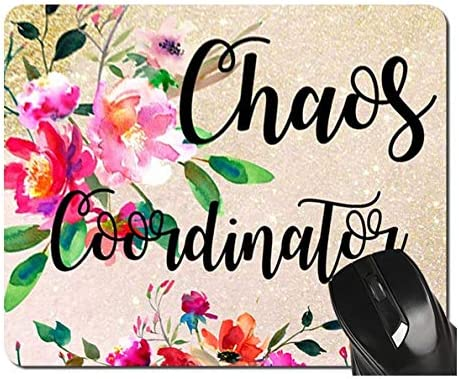 Funny Chaos Coordinator Mouse Pad Pink Red Floral Watercolor Teacher Mousepad Office Desk Accessories product image
