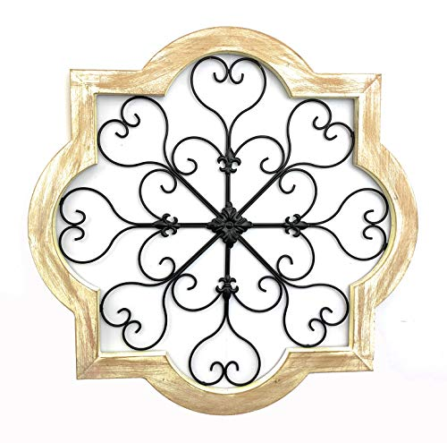Your Home and Beyond Rustic Wood with Metal Scroll...