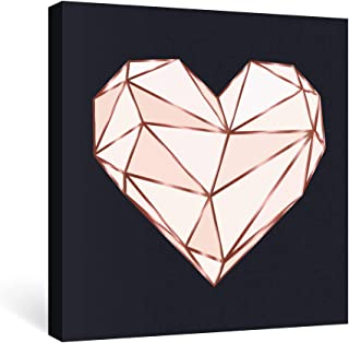 SUMGAR Canvas Wall Art Bedroom Modern Pink Pictures Black Paintings Fashion Artwork Prints Geometric Decor,12x12 inch