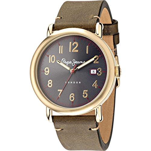 Pepe Jeans Herren Analog Quarz Uhr mit Leder Armband R2351105007