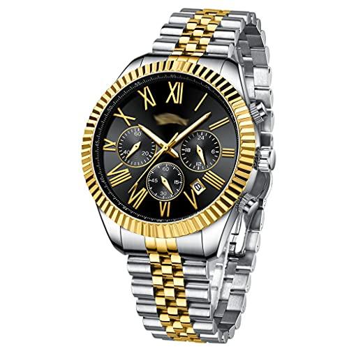 DSJMUY Reloj para Hombre Elegante Moda Cronógrafo Acero Inoxidable Reloj De Pulsera Deportivo Cuarzo Analógico Impermeable Multifunción Casual Reloj