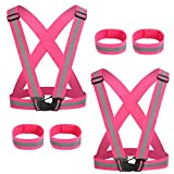 MOVEONE High Visibility Reflective Vest Running Gear with Safety Reflective Bands, Elastic and Adjustable Reflective Gear for Runner, Walking at Night, Cycling and Jogging (RoseRed)