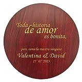 Set de vinos de elegante diseño circular con acabado en madera natural | Personalizado con letras o imágen