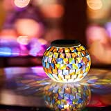 Solar Lights Colour Changing Mosaic Night Light, Waterproof Crystal Glass Light Lamp for Garden, Table, Patio, Indoor Decorations (Multi)