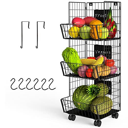 Cesta de fruta colgante de 3 pisos con rueda, paneles desmontables, cesta de almacenamiento de alambre de metal, multiusos, para cocina, despensa, dormitorio, cuarto de baño, color negro