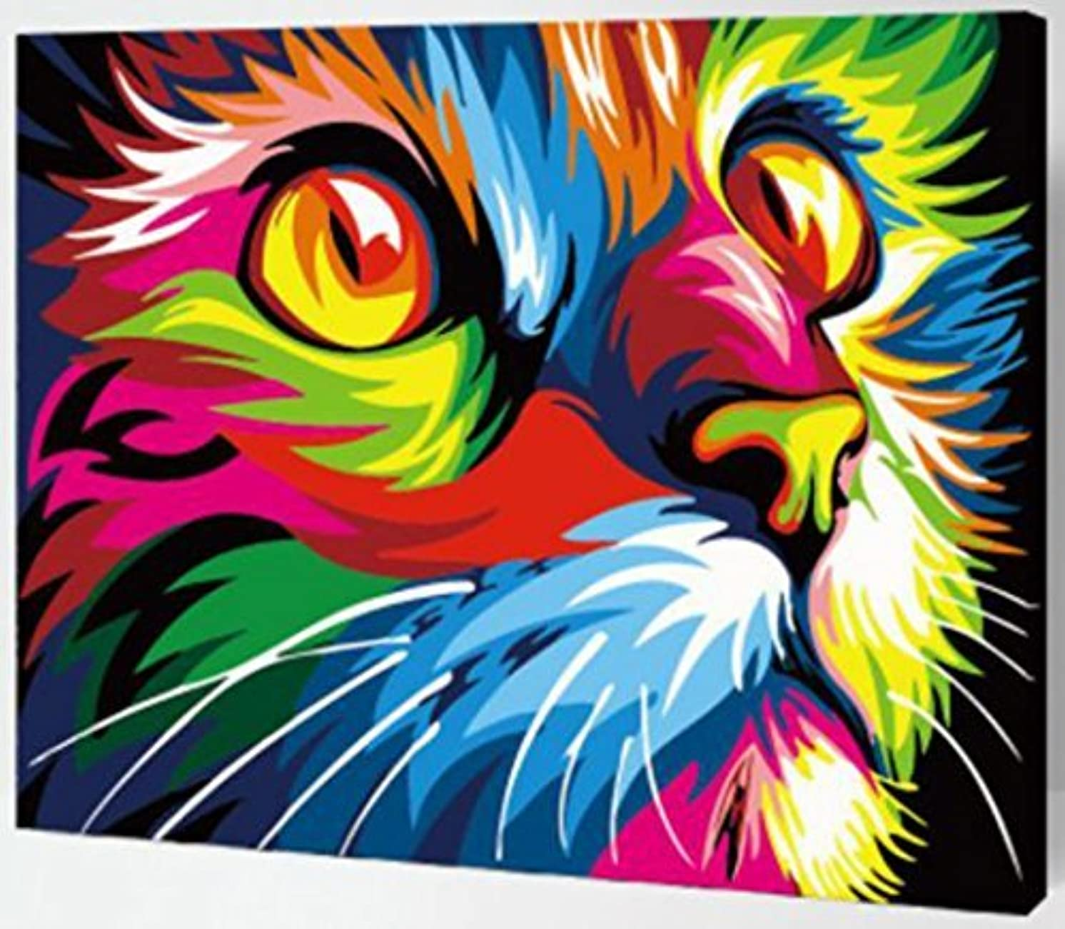 MailingArt Wooden Framed Paint by Number No Mixing/No Blending Canvas DIY Painting - Color Animals (Cat)