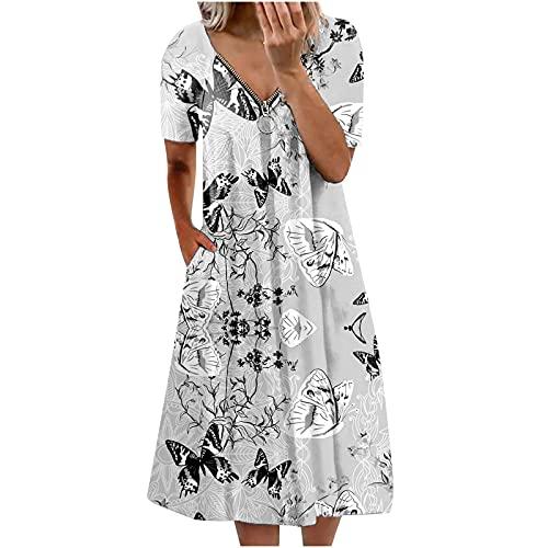 Zzbeans Sommerkleid Damen Lang, V-Ausschnitt Reißverschluss Kurzarm Kleid Damen Mode Blumen Schmetterling Druck Loses Kleid Damen Summer Boho Midi Kleider Damen Kleider mit Taschen