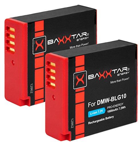 Baxxtar Pro - 2X (1000mAh) Batería para Panasonic DMW BLG10 E - para Panasonic Lumix DC LX100 II GX9 TZ200 TZ90 DMC TZ100 TZ80 GF3 GF5 GF6 GX7 GX80 LX100 S6 etc.