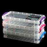 SBYURE Large Capacity Pencil Box,Stackable Translucent Brush Painting Pencils Storage Box Watercolor Pen Container Clear Office Supplies Storage Organizer Box,8.5 x 1.7 x 4 Inches,3 Pack