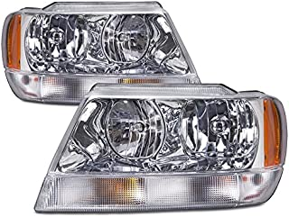 HEADLIGHTSDEPOT Compatible with Fleetwood Discovery 2007-2013 Motorhome RV Chrome Front Headlights Set