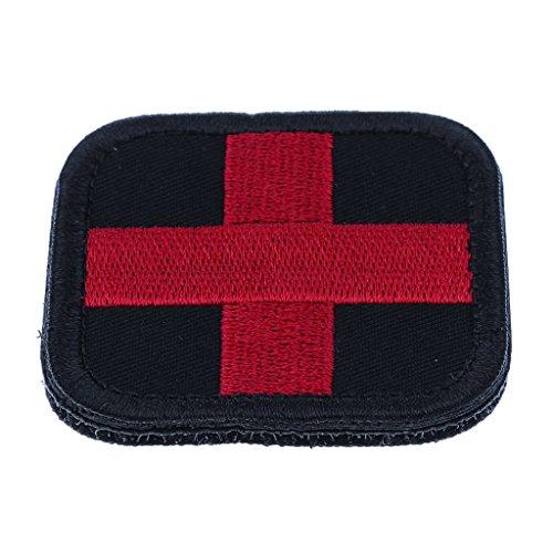 Gazechimp Patch en Nylon Design Croix-rouge Premiers Secours Écusson pour Trousse Sac à Main Cartable Veste - Noir