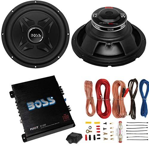 """2 Boss CXX12 12"""" 2000W Car Audio Power Subwoofer Sub+ Mono Amplifier+Amp Kit"""