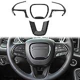 Voodonala ABS Carbon Fiber Steering Wheel Cover Trim, for 2015-2020 Dodge Challenger Charger, for 2014-2020 Dodge Durango for Jeep Grand Cherokee SRT8, 4pcs