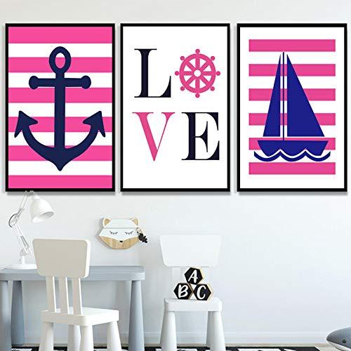 XIANGPEIFBH Liefde Zeil Boot Canvas Schilderij Hot Roze Blauw Nursery Art Nautische Poster Muur Foto voor Kids Meisjes Kamers Decor 40x60cmx3pcs Unframed