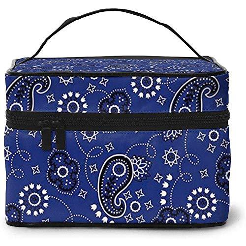 Blue Paisley Pattern Portable Ladies Travel Cosmetic Case Bag Storage Makeup Pouch Multi-Function Wash Large Capacity Makeup Bag