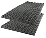 Foamily Acoustic Foam Sound Absorption Pyramid Studio Treatment Wall Panel, 48' X 24' X 2' (2 Pack)