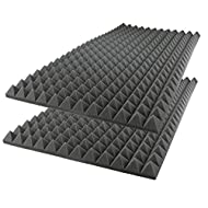 "Foamily Acoustic Foam Sound Absorption Pyramid Studio Treatment Wall Panel, 48"" X 24"" X 2"" (2 Pack)"