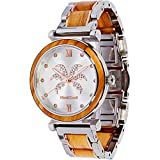 Maui Kool Steel and Wood Hybrid Watch Paia Collection for Women Analog Watch Bamboo Gift Box (P5 - Olive Wood White Face)