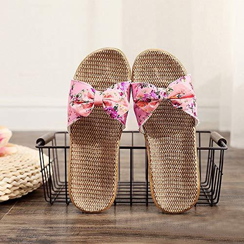 Linen Flip Flops Fashion Women Bowknot Linen Beach Slippers Summer Breathable Non-Slip Slides Beach Shoes Ladies (Pink, 35-36)