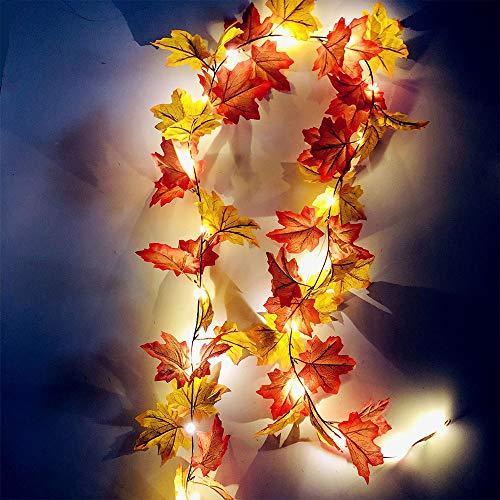 Guirnalda de hojas de arce otoñal con 20 LED, artificial, de hoja de arce artificial, para colgar en la parte delantera sobre la puerta, para Acción de Gracias, festivales, decoración de fiestas
