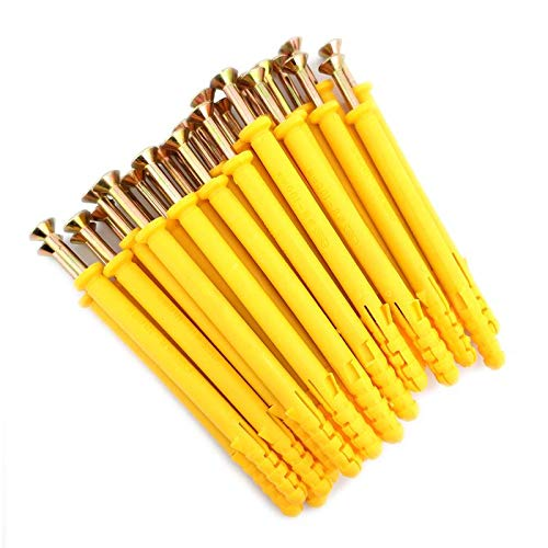 80 mm Yellow Plastic Expansion Plug with Self-Tapping Screws 100 Pcs East Utopia 8