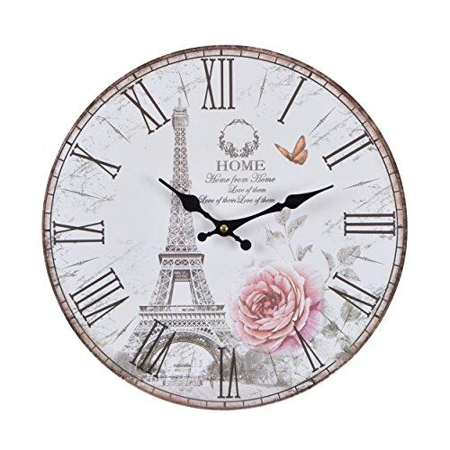 Vevendo Wanduhr - Rose Paris - Holz Küchenuhr mit großem Ziffernblatt aus MDF, Retro Uhr im angesagtem Shabby Chic Design mit leisem Quarz-Uhrwerk, Ø: 32 cm