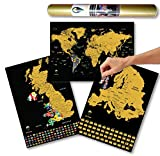 Global Walkabout Scratch Off World, Europe and UK Map with Flags background - Deluxe Travel Size World, Europe and UK Map Poster - Countries and Facts - Travel Gift (Black)