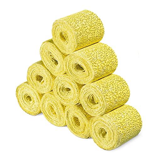 Navaris 10x Vendas de yeso para manualidades - Venda de 5 x 300 CM de escayola para hacer moldes de cara cuerpo torso barriga embarazada - Amarillo