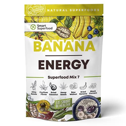 Mezcla de superalimentos en polvo, sin gluten, para smoothies en polvo vegano, sustituto de comida, semillas de chía, aperitivos saludables con plátanos secos y grosella negra.