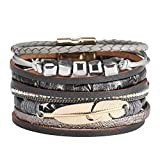 Leder Wickelarmband FüR Frauen,XshuaiRTE Perlen Und Strass ArmbäNder - MäDchen Manschette Bangle Handgemachten Schmuck Women Multilayer Bangle Bracelet Crystal Beaded Leather Wristband (Schwarz)