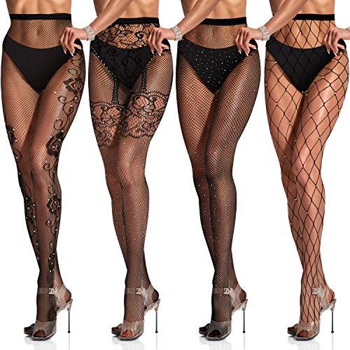SATINIOR 4 Paar Glitzernde Strass Netzstrümpfe für Damen mit Hoher Taille und Netzstrumpfhose (Schwarz, Fischnetz, Blumen Muster)