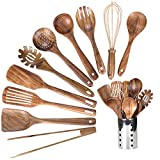 Kitchen Wooden Utensils for Cooking, Wood Utensil Natural Teak Wood Spoons for Cooking,Kitchen...
