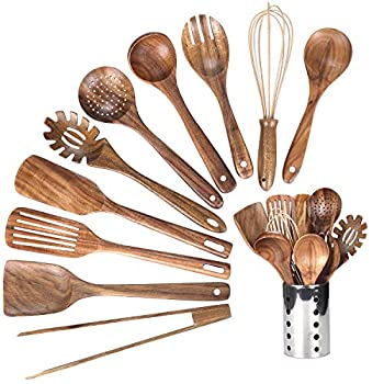 Kitchen Wooden Utensils for Cooking Wood Utensil Natural Teak Wood Spoons for Cooking,Kitchen Utenails Set with Holder,Wooden Kitchen Utensil Set With Spatula and Ladle  11