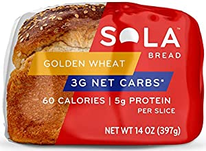 Sola Golden Wheat Bread – Low Carb, Low Calorie, Reduced Sugar, 5g Protein Per Slice – 14 OZ Loaf of Sandwich Bread (Pack of 3) #1