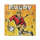 Hgjhy Pendules murales,Joueur De Rugby Passant Le Ballon Carré Horloge Murale Non Ticking Numérique Silencieux Balayage Horloges Décoratives pour Cuisine Chambre Salon