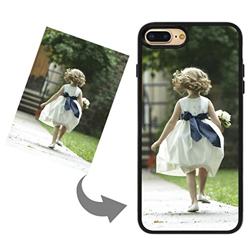 Moonlove Custom Case for iPhone 7 Plus/8 Plus Personalized Phone Case with Photo and Text Soft TPU Rubber Shock Absorbing Bumper Cover Case