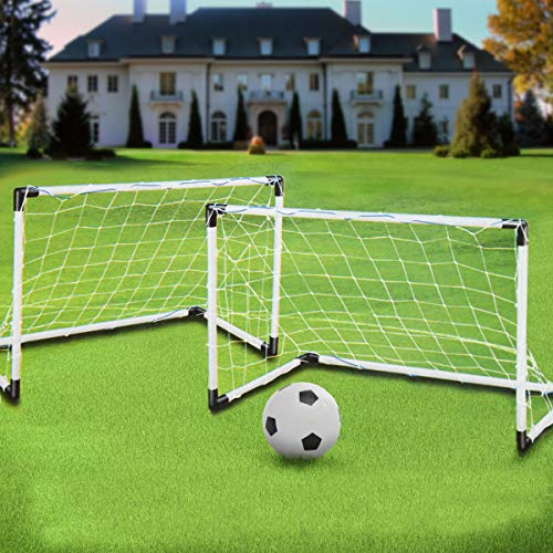EsportsMJJ 2 Mini Set Voetbal Doel Post Net + Bal + Pomp Kids Outdoor Sport Training